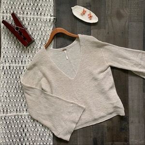 Free People Starman Ribbed Bell Sleeve Pullover